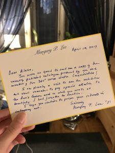 Thank you letter from Margery Lee
